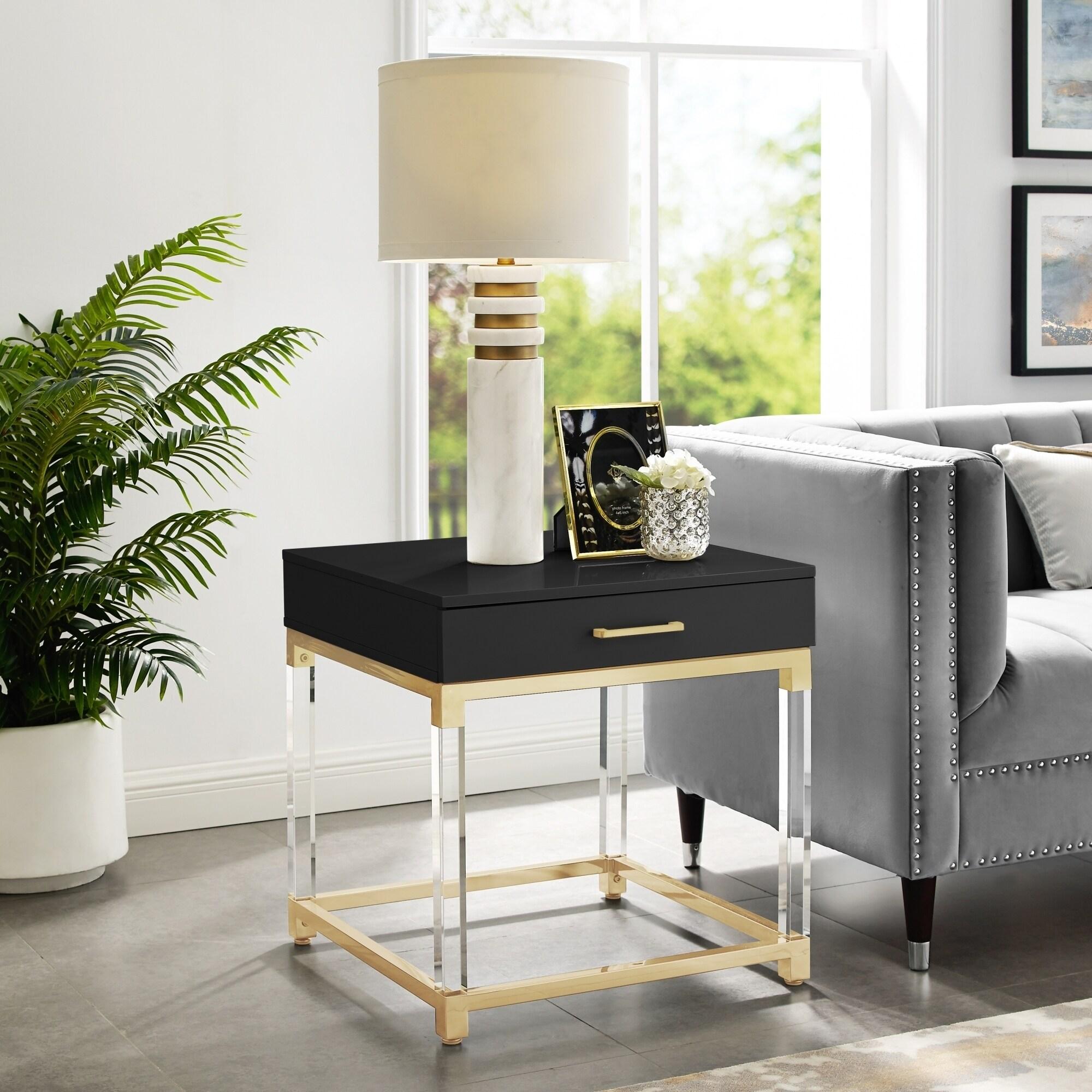 Alvaro High Gloss End Table With Acrylic Legs And Metal Base