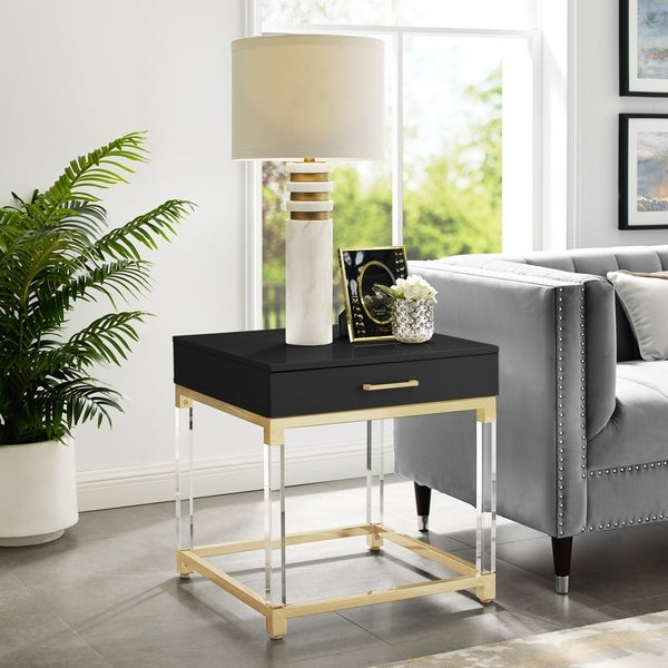 Alvaro High Gloss End Table with Acrylic Legs and Metal Base. Opens flyout.