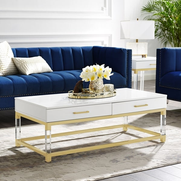 Alvaro High Gloss Coffee Table with Acrylic Legs and Metal Base. Opens flyout.