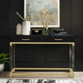 Alvaro High Gloss Console Table with Acrylic Legs and Metal Base