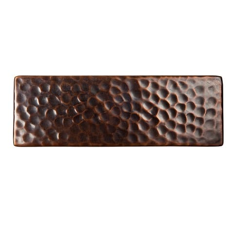 "Set of Three Solid Hammered Copper 6""x2"" Decorative Accent Tiles"