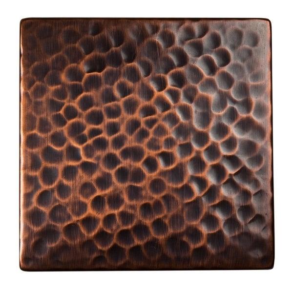 """Set of Three Solid Hammered Copper 4""""x4"""" Decorative Accent Tiles. Opens flyout."""