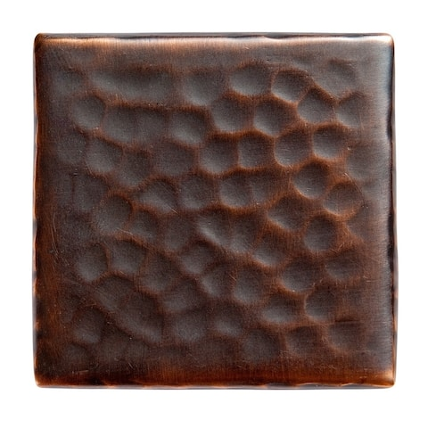 "Set of Four Solid Hammered Copper 2""x2"" Decorative Accent Tiles"