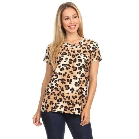 Women's Pattern Batwing Cap Sleeve Casual Front Pocket Shirt Tunic Tee Top