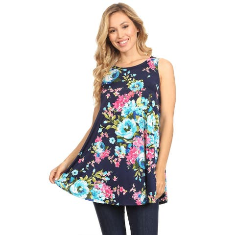 Women's Casual Pattern Relaxed Fit Sleeveless Pockets Tunic Tank Top Tee