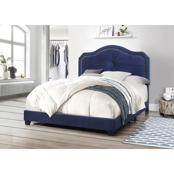 Best Quality Furniture Queen/Twin/Full Sized Single Button Folded Velvet Bed