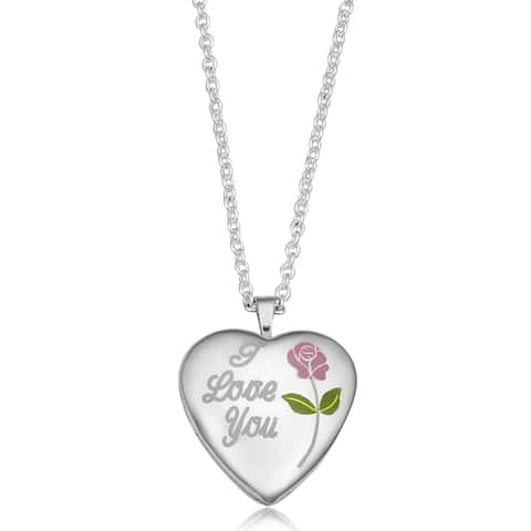 """Sterling Silver """"I Love You"""" Pink Rose Heart Locketn Necklace (18 inches)"""