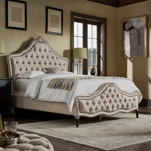 Gracewood Hollow Raval Tufted Scroll Bed with Nailhead Trim