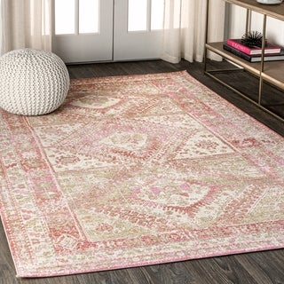 JONATHAN  Y Darija Ornate Geometric Medallion Pink Area Rug