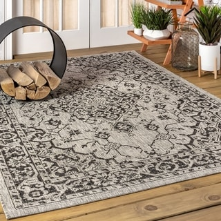 JONATHAN  Y Rozetta Boho Medallion Textured Weave Indoor/Outdoor Gray/Black Area Rug