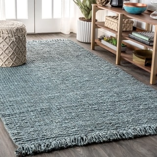 JONATHAN  Y Para Hand Woven Chunky Jute with Fringe Light Blue/Gray Area Rug