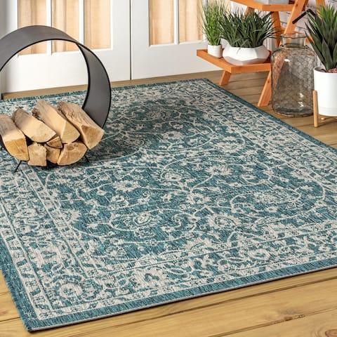 JONATHAN Y Palazzo Vine and Border Textured Weave Indoor/Outdoor Teal/Gray Area Rug