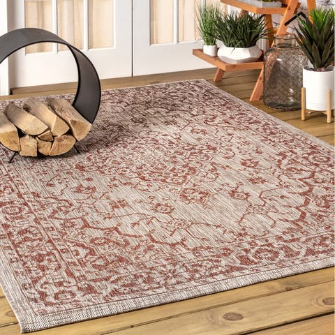 JONATHAN Y Rozetta Boho Medallion Textured Weave Indoor/Outdoor Red/Taupe Area Rug