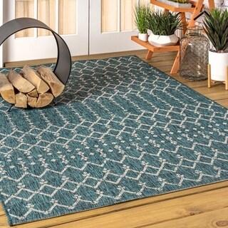 JONATHAN  Y Ourika Moroccan Geometric Textured Weave Indoor/Outdoor Teal/Gray Area Rug