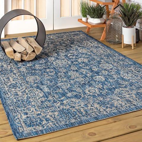JONATHAN Y Tela Bohemian Textured Weave Floral Indoor/Outdoor Navy/Gray Area Rug