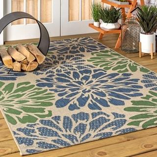 JONATHAN  Y Zinnia Modern Floral Textured Weave Indoor/Outdoor Navy/Green Area Rug