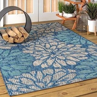 JONATHAN  Y Zinnia Modern Floral Textured Weave Indoor/Outdoor Navy/Aqua Area Rug