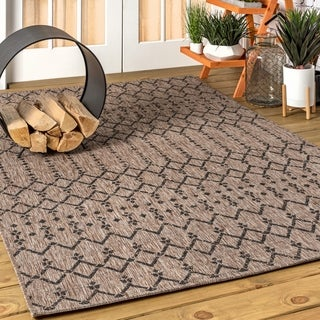 JONATHAN  Y Ourika Moroccan Geometric Textured Weave Indoor/Outdoor Natural/Black Area Rug