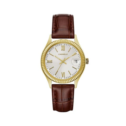 Caravelle Designed by Bulova Women's 44M111 Goldtone Coin-Edge Bezel Brown Leather Strap Watch