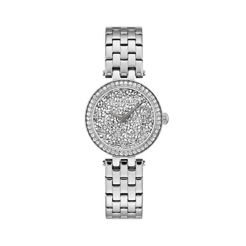 Caravelle Designed by Bulova Women's 43L210 Silvertone Crystal Pave Dial Bracelet Watch