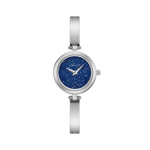 Caravelle Designed by Bulova Women's 43L215 Stainless Blue Crystal Pave Dial Bangle Watch