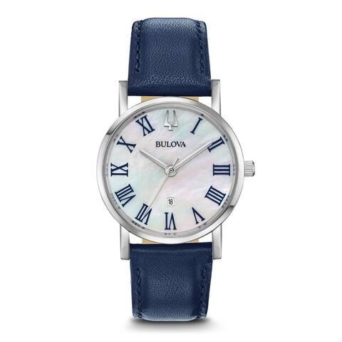 Bulova Women's 96M146 Classic Slim Stainless Blue Leather Strap Watch