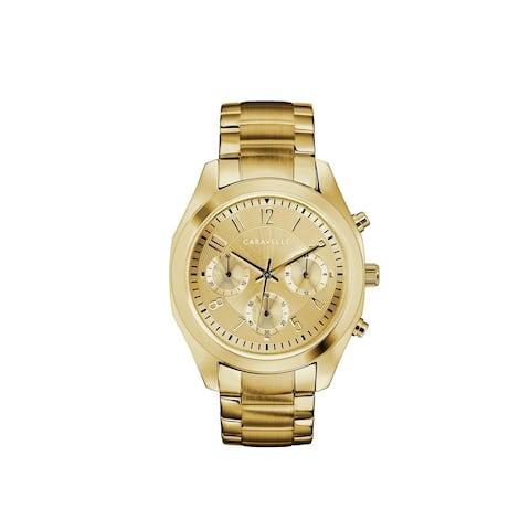 Caravelle Designed by Bulova Women's 44L238 Gold-Tone Stainless Chrono Bracelet Watch
