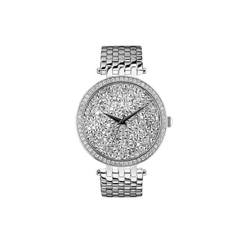 Caravelle Designed by Bulova Women's 43L206 Modern Crystal Rock Dial Stainless Bracelet Watch