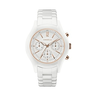Link to Caravelle Designed by Bulova Women's 45L174 White Ceramic Chrono Bracelet Watch Similar Items in Women's Watches