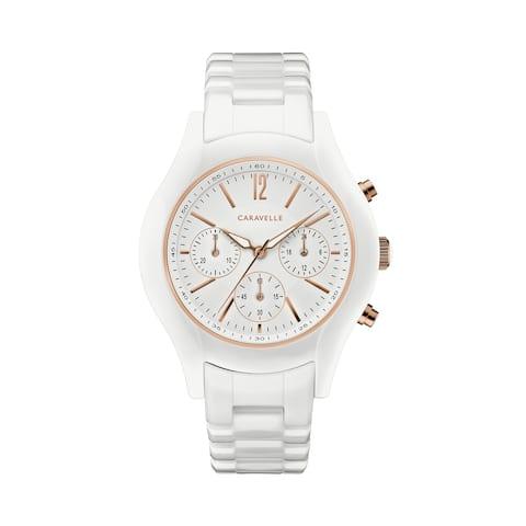Caravelle Designed by Bulova Women's 45L174 White Ceramic Chrono Bracelet Watch