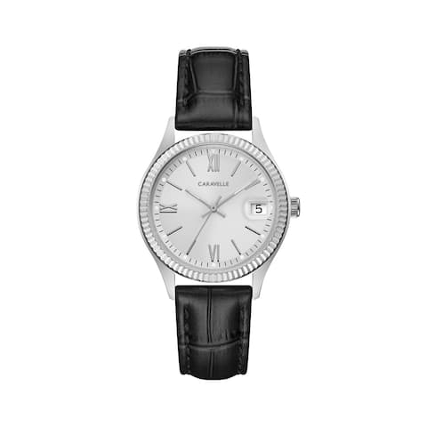 Caravelle Designed by Bulova Women's 43M116 Coin Edge Stainless Black Leather Strap Watch