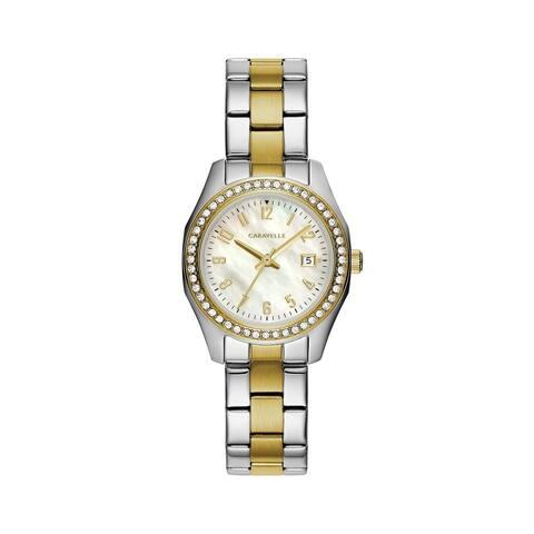 Caravelle Designed by Bulova Women's 45M113 Two-Tone Stainless Crystal Bezel Bracelet Watch