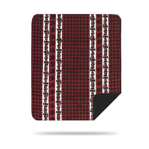 Denali Bear Plaid Border/Black Microplush Blanket
