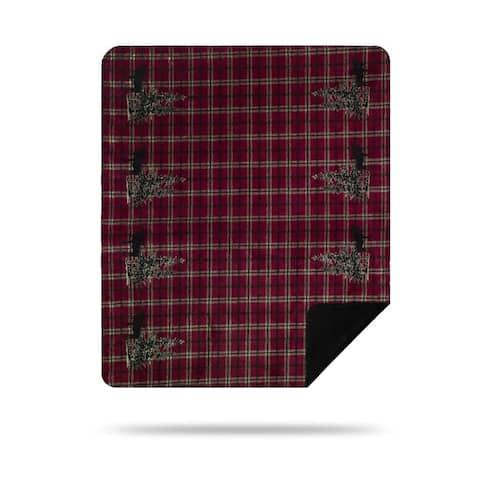 Denali Moose Plaid Border/Black Microplush Blanket