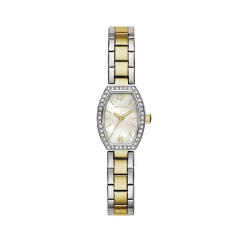 Caravelle Designed by Bulova Women's 45L168 Two-Tone Barrel Crystal Accent Bracelet Watch