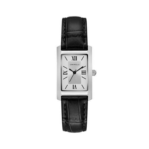 Caravelle Designed by Bulova Women's 43L202 Classic Rectangular Black Leather Strap Watch