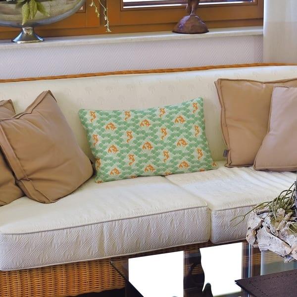 Koi Fish Waves Lumbar Pillow On Sale Overstock 28416285
