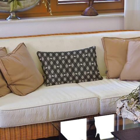 Argyle Skulls Pattern Lumbar Pillow