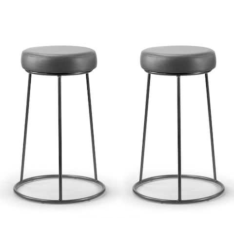 Set of 2 Amie Grey Backless Counter Stool with Gunmetal Grey Frame