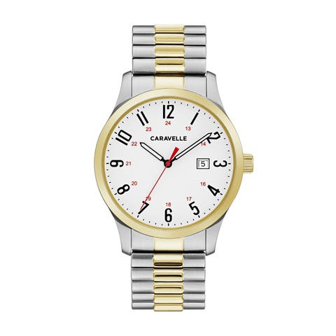 Caravelle Designed by Bulova Men's 45B147 Easy Reader Two-Tone Stainless Expansion Bracelet Watch