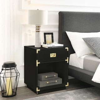 Yaya Side Table Nightstand High Gloss with Metal Corner Brackets
