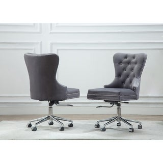 Link to Best Quality Furniture Button Tufted Velvet Office Chair with Nailhead Trim Similar Items in Home Office Furniture