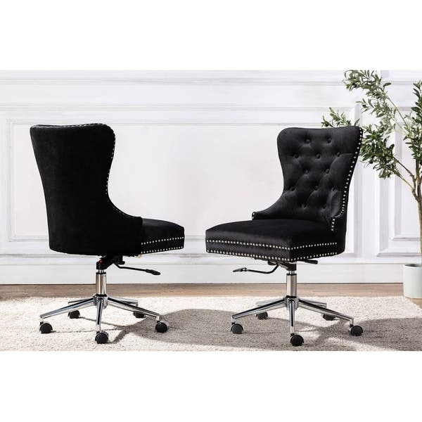 Best Quality Furniture Button Tufted Velvet Office Chair With Nailhead Trim Overstock 28416413