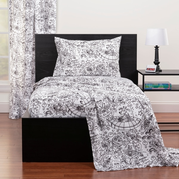 Dream Space Blue and Gray Sharks Three Piece Twin Sheet Set