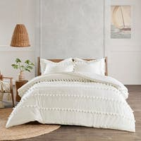 Madison Park Tracie Pom Pom Cotton King - Cal King Size Comforter Set in Ivory (As Is Item)