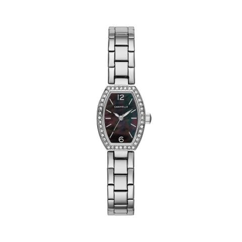 Caravelle Designed by Bulova Women's 43L204 Crystal Bezel Black MOP Stainless Bracelet Watch