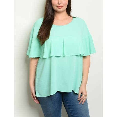 JED Women's Plus Size Frilly Sleeves Layered Mint Top