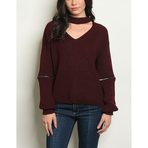 JED Women's Chunky Knit Choker Pullover Sweater