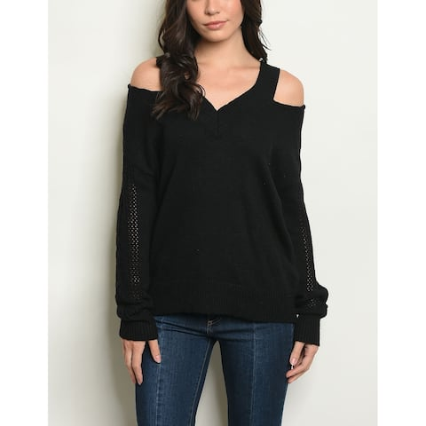 JED Women's Cold Shoulder Black Sweater Knit Top