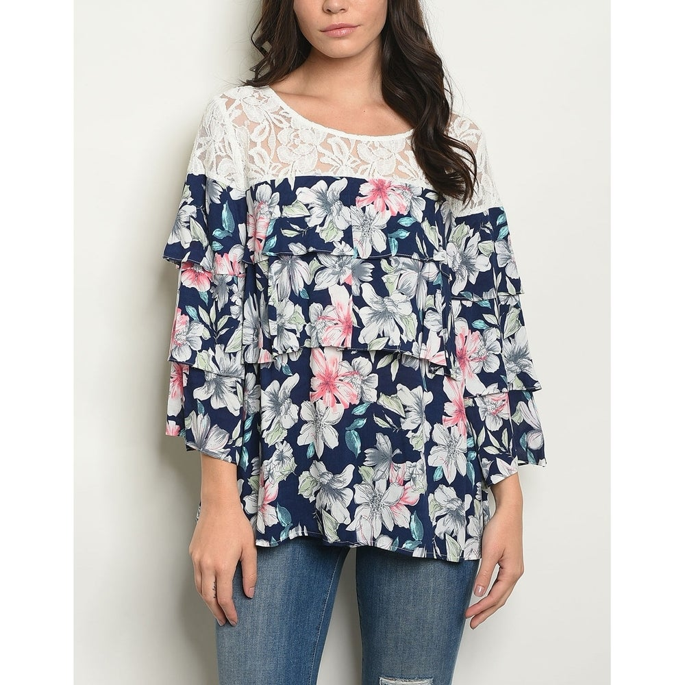 JED Womens Floral and Lace Frilly Tunic Top
